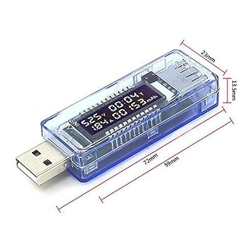 Vicloon USB Testeur/ Voltmètre/Ampèremètre/Capacimètre, USB Détecteur/Moniteur de voltage/ Courant /Tension, pour Chargeur, Batterie Externes et Autres