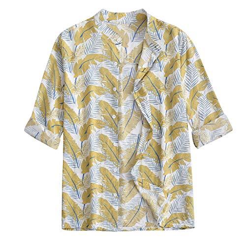 Crazboy Herren Mode Hemd Beiläufig Lange Ärmel Strand Oben Lose Beiläufig Hemden(Gelb,XXX-Large) - Brokat-armband