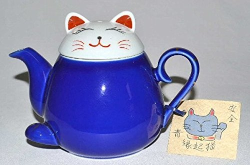 Japanische hasamiyaki Porzellan Maneki Neko Katze Teekanne mit Sieb 340ml, blau
