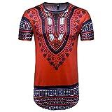 GreatestPAK T-Shirt imprimé Africain des Hommes d'été Décontracté O Neck Pullover à Manches Courtes Top Blouse (M, Multicolore)