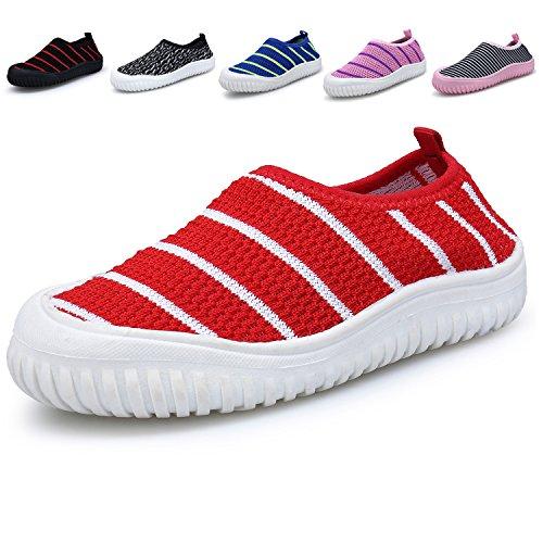 Bdawin Kinder Jungen Mädchen Baby Turnschuhe Schlüpfen Atmungsaktiv Sneaker Schuhe für Gehen Laufen,59 Red EU22 (Junior-mädchen-schuhe)