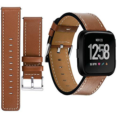 happytop Fitbit Versa Band Ersatz S/L Leder Uhrenarmband Armband Fitbit Bands, unisex, coffee, Large - Große Gear X S Für Uhrenarmbänder