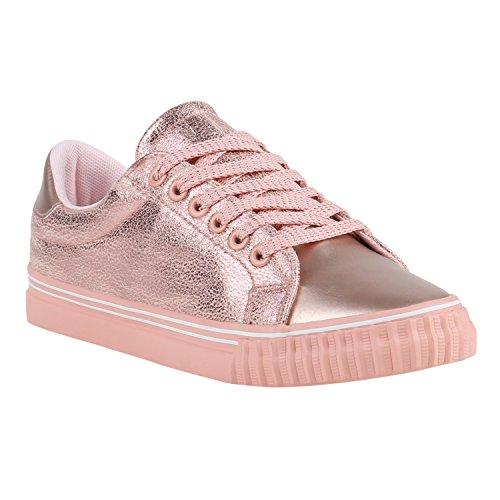 Glänzende Damen Sneakers Metallic Glitzer Pailletten Flats Turnschuhe Rose Gold Rose