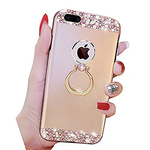 EUWLY Cover iPhone 7 Plus/iPhone 8 Plus (5.5), iPhone 7 Plus/iPhone 8 Plus (5.5) Case per Ragazza delle Donne, EUWLY Custodia Luxury Bling Crystal Sparkle Glitter Diamante Cover [360 Rotating Anello Oro