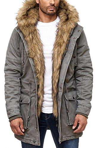 Jungen-brown-leder-jacke (Husaria Designer Jacke Winterjacke mit Kapuze und stylischem Fell Winter Camouflage Parka 9206 (M, Grau))