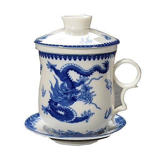 ufengke Jing Dezhen Tazza Da Tè Porcellana Blu E Bianca, Motivo Drago Blu,...