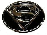 Superman mit Silber Finish & Schwarz Emaille Metall Gürtelschnalle