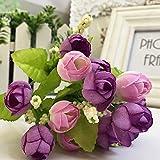 RWINDG 15 Köpfe Künstliche Rose Seide Gefälschte Blume Blatt Wohnkultur Brautstrauß BlüTenbläTter Billig Efeu Blumenarrangements BlumenköPfe