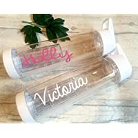love white island water bottle personalised summer holiday birthday party TV school name with straw