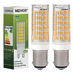 MENGS® B15D LED-Leuchtmittel, 6 W, entspricht B15D-Halogenlampe, 75 W, DC Bajonettsockel, Doppelkontaktsockel, B15 für Nähmaschine, Deckenventilator, Tageslichtweiß, 3000 K, nicht dimmbar (2 Stück)