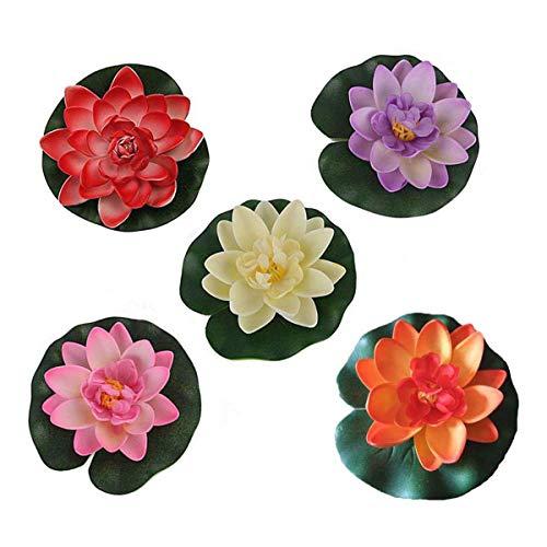 Givbro - 10 fiori di loto galleggianti da 10,2 cm, impermeabili, ideali per decorazioni per acquari e matrimoni