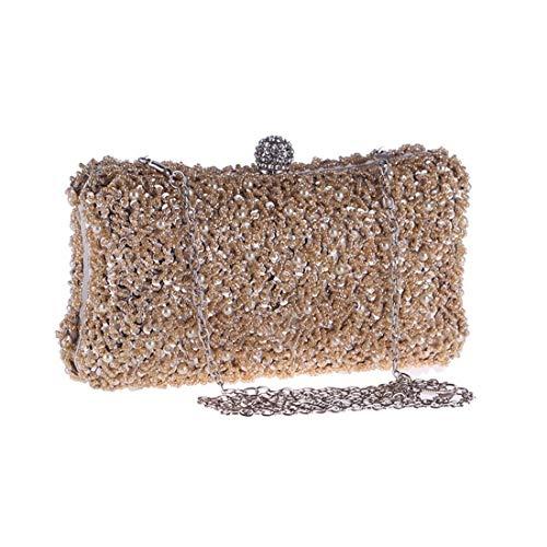 Xihou Perlen Clutch, Geldbörse, Abendkleid, Hochzeitsfeier Tote, 20 * 11 * 6 cm (Farbe: Gold) Du verdienst es zu haben (Color : Gold)