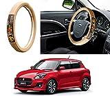 #6: Auto Pearl - Adinox Premium Quality Ring Type Car Steering Wheel Cover (Chromium Om Namah Shivay Beige) For -Maruti Suzuki Swift 2018