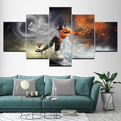 Wieoc Leinwand Malerei Fantasie Erstaunliche Bild 5 Stücke Wandkunst Malerei Modulare Tapeten Poster Print Für Wohnzimmer Wohnkultur-30X40Cmx2 30X60Cmx2 30X80Cmx1 (Erstaunliche Fantasie)