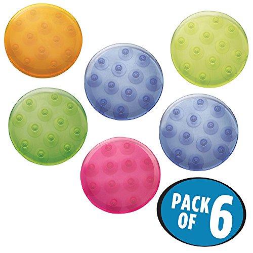 mDesign Juego de alfombrillas de baño - redondas y de colores - alegría en el baño - alfombras antideslizantes - 6 unidades en muchos colores