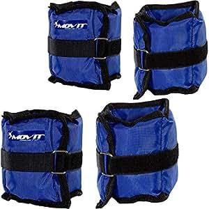 MOVIT® Jeu de 4 poids réglables pour poignet et cheville 2 x 500g (1,10 lb) et 2 x 1000g (2,20 lb) Poids en cours d'entraînement Couleur Bleu Force Gym Entraînement résistant