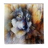 BIGJOKE Duschvorhang, Tier-Wolf-Motiv, schimmelresistent, wasserdicht, Polyester-Stoff, 12 Haken, 182,9 x 182,9 cm, Heimdekoration