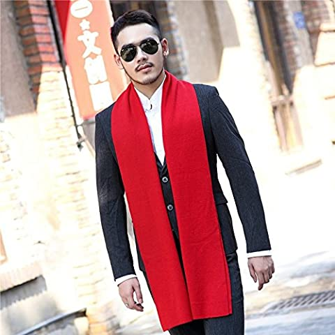 In autunno e in inverno gli uomini alla moda in stile inglese con colori solidi sciarpe semplici uomini di spessore Sciarpa lavorata a maglia in cotone Lana W-60
