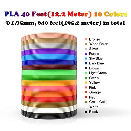 dikale 3D Stift Farben PLA - 16 Farben 12.2 M, 3D Stift Nachfüller 1,75mm für 3D Stift, 3D Drucker, Kompatibel mit ODRVM, Canbor, Uvistare, Sunlu, PLUSINNO, QPAU, Lovebay, Juboury, Nexgadget 3D Pen - 3