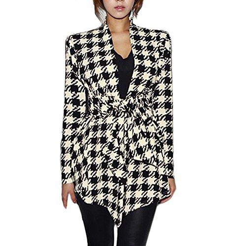 Cardigan Damen Vintage Elegante Hahnentritt Mantel Herbst Langarm Slim Classic Fit Irregular Fashion Office Business Blazer Jacke Outerwear Kleidung (Color : Schwarz, Size : M) -