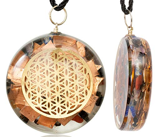 1 6 inch Flower of Life Orgone Pendant Generator Energy Accumulator EMF  Protection   Reiki Charged Orgonite Pendants   EMF Radiation Protection  Energy