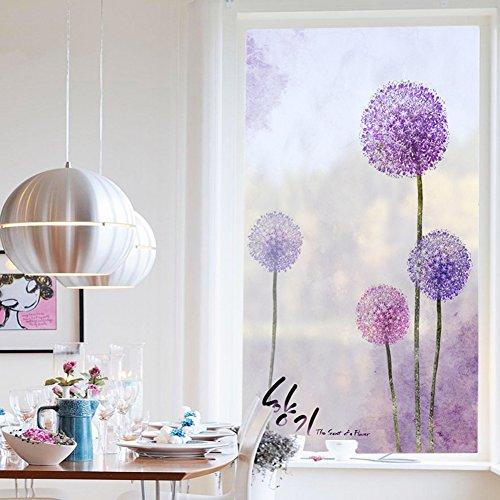 eraufkleber,Glas aufkleber für badezimmer satiniertem fenster aufkleber leicht deckend schattierung löwenzahn wandsticker-A 45x80cm(18x31inch) (Wand-kunst-aufkleber Pflanzen)