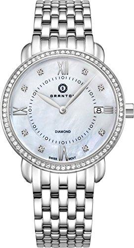 Granton Damen-Armbanduhr COLLECTION MARQUISE Analog Quarz Farbe weiß Silber, 36mm damenuhr