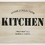com-four® Serviertablett aus Holz, Tablett mit Tragegriffen und Aufdruck Kitchen, 40 x 26 x 6,5 cm (01 Stück - Kitchen) - 5