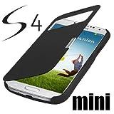 Q1 Samsung Galaxy S4 Mini i9190 / S4 Mini LTE i9195 S-View Flip Cover Schwarz/Black Hülle Tasche wie S-View Akkudeckel Flip Case + Gratis Displayschutzfolie !!