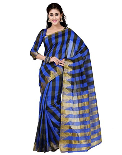 Deepika Saree Blue and Black Art Silk Saree with Blouse  available at amazon for Rs.990