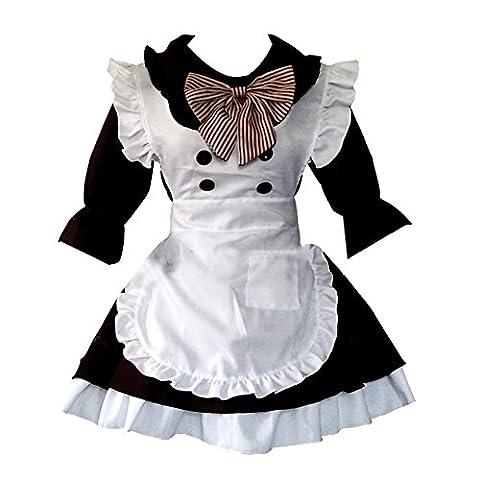 LSERVER Cosplay Costume Fancy Pucelle Robe Tablier Déguisement Ménage Uniforme Maid Femme Adulte, Noir, X (Pour hauteur 170cm)