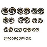 PiercingJ 2x 1.6-20mm Acryl Dehnspirale Dehnungsschnecke Dehner Schnecke Plug Tunnel Ohr Piercing Expander Unisex Punk, Schwarz+Gold (1 Set, Gauge: 1.6-20mm, 28 Stücke)
