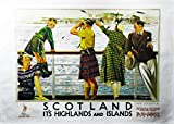 Scotland Highlands and Islands- Retro Style Travel Poster