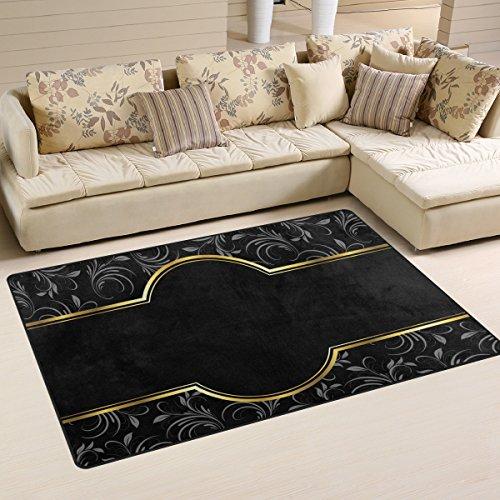 yibaihe leicht bedruckt Bereich Teppich Teppich Fußmatte Deko schwarz gold Vintage Floral Muster Wasserabweisend Leicht zu reinigen für Wohnzimmer Schlafzimmer 153 x 100 cm -