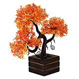 #5: Adaspo Artificial Plant with sunrise orange leaves in Natural Wooden pot(23 cm)