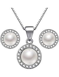 Lydreewam - Juego de collar y pendientes de perlas de plata de ley 925 con diseño de Navidad