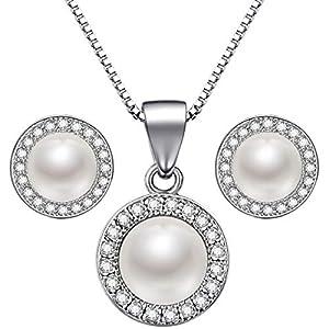 Lydreewam Perlen Kette Ohrringe Schmuckset Silber 925 Thanksgiving Weihnachtsgeschenk für Damen/Mädchen