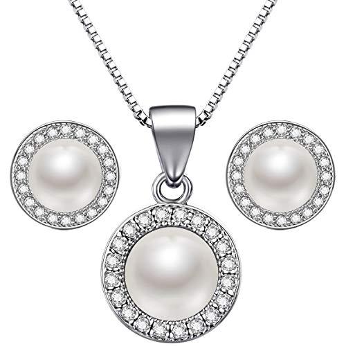 Lydreewam Perlen Kette Ohrringe Schmuckset Silber 925 Valentinstag Geschenkbox für Damen/Mädchen