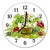 Glasuhr von DekoGlas 30cm runde Bilderuhr aus Acrylglas mit lautlosem Quarzuhrwerk Glaswanduhr Dekouhr Uhr Wanduhren aus PMMA Küchenuhr Glasbilder Wanddekoration Öl Basilikum mehrfarbig
