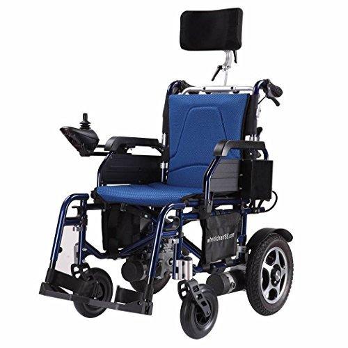 Faltbar Electric Power Rollstuhl mit neigbar Rückenlehne, verstellbare Kopfstütze & Polymer Li-Ion Akku. foldawheel pw-777pl