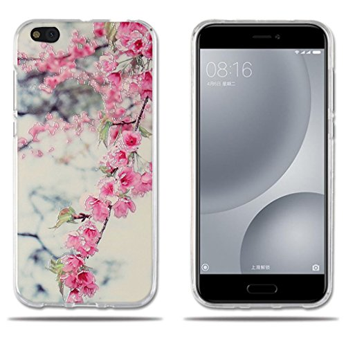 Fubaoda Xiaomi Mi 5c Mi5c Hülle, [Peach Blossom] Transparent Silikon Clear TPU FashionAnti-Scratch Slim Fit Shockproof Flexible Design für Xiaomi Mi 5c Mi5c
