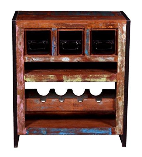 SIT-Möbel Bali 3587-98 Weinregal mit 3 Schubladen, 4 Einlegefächer für Flaschen, Mangoholz, bunt...