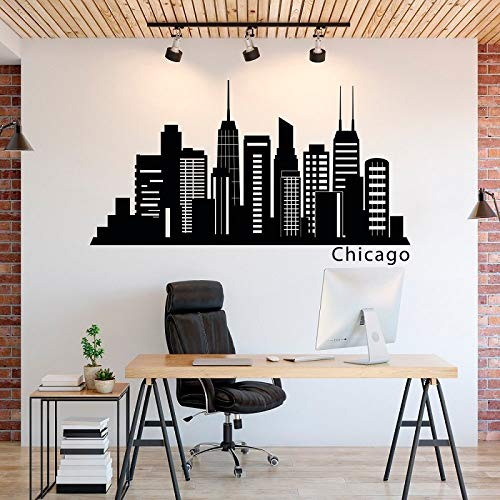 yiyiyaya Chicago City Silhouette Vinyl Wandaufkleber Chicago Skyline Office Home Schlafzimmer Wohnzimmer Dekoration Wandtattoo   73 * 42 cm