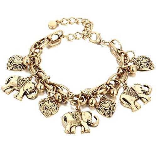 Onefeart Placcato Oro Calzerotto Per le Donne Ragazze Elefante Cuore-Formad Design 24CM Oro