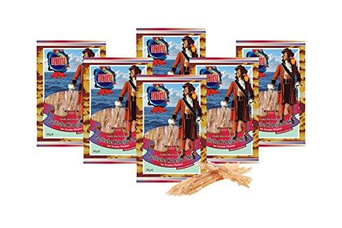 Pazifischer Kabeljau Jerky - Im Sesam-Mantel (6 x 36g Pack) Natur Snack getrocknet & gesalzen I Low Carb I High Protein I Fitness Snack I Trockenfisch reich an Omega -3- I für Männer & Frauen -