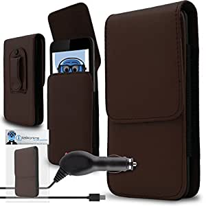 iTALKonline Samsung N9000 Galaxy Note 3 III Brown PREMIUM PU Leather Vertical Executive Side Pouch Case Cover Holster with Belt Loop Clip and Magnetic Closure and 1000 mAh Coiled In Car Charger LED Indicator and Overload Protection