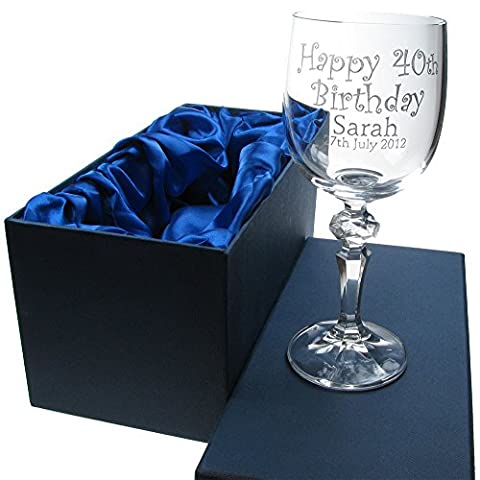 Girl's 50th Birthday Gift, 24% Lead Crystal Engraved Wine Glass in a Satin Lined Presentation Box, 50th Birthday Gifts for