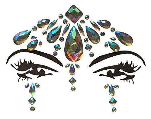 Gesicht und Körper Juwelen Edelstein Aufkleber Glitter MAKE-UP für Party Festival Shows und Bühnenauftritte BFG1807 Regenbogen Steinchen (Körper Juwel Kleben)