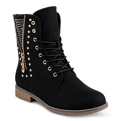 Damen Stiefeletten Stiefel Nieten Reißverschluss Blockabsatz Schnür Biker Boots Schuhe