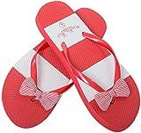 Zehentrenner Damen Flip Flops Mädchen Sommer Sandalen Streifenmuster (EU 36-37, Rot)